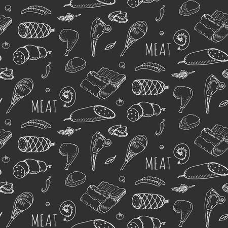 Nahtlose Muster Hand gezeichnet Doodle Satz von Cartoon andere Art von Fleisch und Geflügel. Fleisch-Set Vektor-Illustration Sketchy Elemente: Lamm Schweineschinken Mince Huhn-Steak Speck Wurst Salami Feinkost