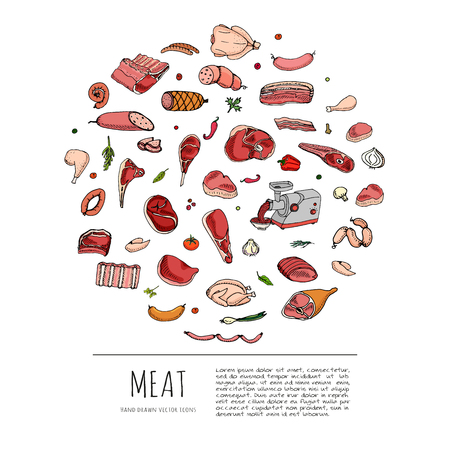 Hand getrokken doodle set van cartoon verschillende soorten vlees en gevogelte. Meat set Vector illustratie. Schetsmatige vlees elementen collectie Lam Varkensvlees Ham Mince Chicken Steak Bacon Sausage Salami Delicatessen