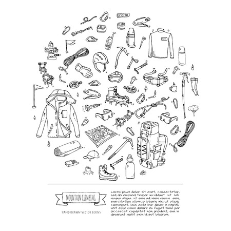 Hand drawn doodle Mountain Climbing icons set. Vector illustration. Mountaineering equipment collection. Cartoon sketch elements for trekking, hiking, tourism, expedition, camping, outdoor recreation.