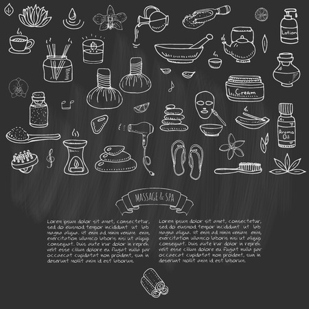 hair mask: Hand drawn doodle Massage and Spa icons set Vector illustration relaxing symbols collection Cartoon beauty care concept elements health care Wellness treatment Body massage Lifestyle Skin care Spa