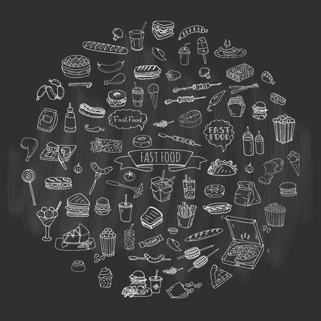onion rings: Hand drawn doodle Fast food icons set. Vector illustration. Junk food elements collection. Cartoon snack various sketch symbol: soda, burger, potato,hot dog, pizza, tacos, sweet desert, donut, popcorn