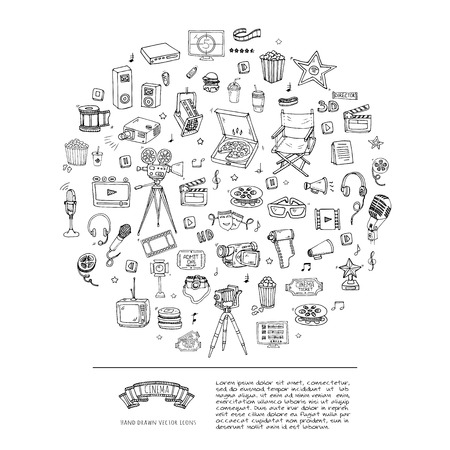 Hand drawn doodle Cinema set. Vector illustration. Movie making icons. Film symbols collection. Cinematography freehand elements: camera, film tape, photo camera, pizza, popcorn, projector, microphone Фото со стока - 70669139