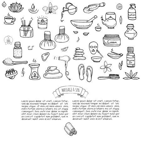 Hand drawn doodle Massage and Spa icons set Vector illustration relaxing symbols collection Cartoon beauty care concept elements health care Wellness treatment Body massage Lifestyle Skin care Spa Stok Fotoğraf - 70669147