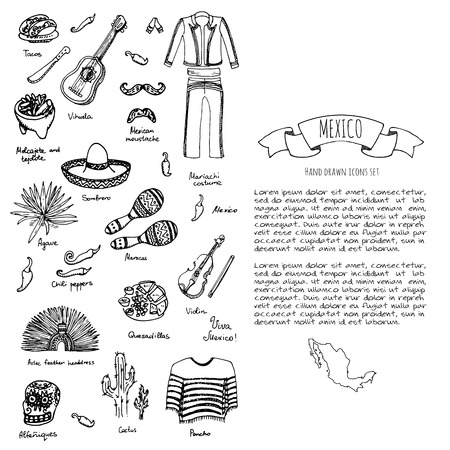 agave: Hand drawn doodle Mexico set Vector illustration Sketchy mexican food icons United Mexican States elements Flag Maracas Sombrero Viva Mexico Maya Pyramid Aztec Tequila Agave Mariachi Poncho Guacamole