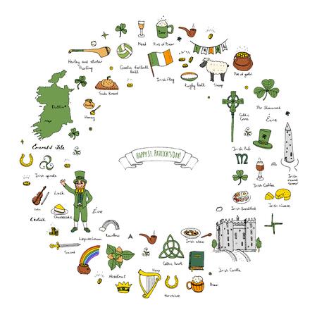 hurling: Hand drawn doodle Happy St. Patricks Day set. Ireland icons. Vector illustration Sketchy Irish traditional food icons elements Flag Map Celtic Cross Knot Castle Leprechaun Shamrock Harp Pot of gold