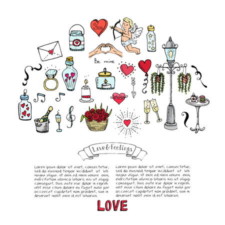 Hand drawn doodle Love and Feelings collection Vector illustration Sketchy Love icons Big set of icons for Valentines day, Mothers day, wedding, love and romantic events Hearts hands cupid bouquet