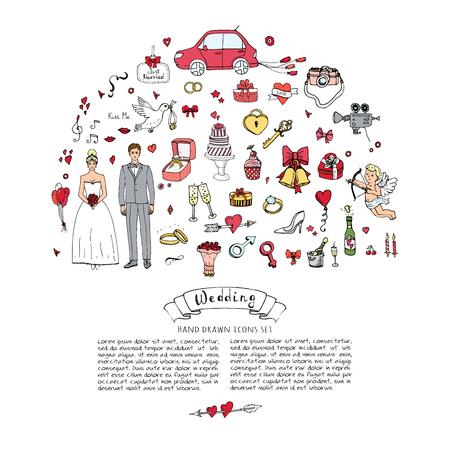 手描き落書きの結婚式の日コレクション ベクトル図大ざっぱな結婚アイコン大きいセット アイコンの婚約、結婚、愛、ロマンチックなイベント花嫁