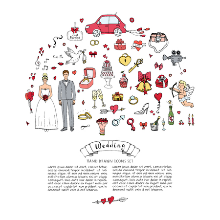 Hand drawn doodle Wedding day collection Vector illustration Sketchy Marriage icons Big set of icons for Engagement, get married, love and romantic event Bride Groom Heart Cupid Ring Dove Car Tricycle