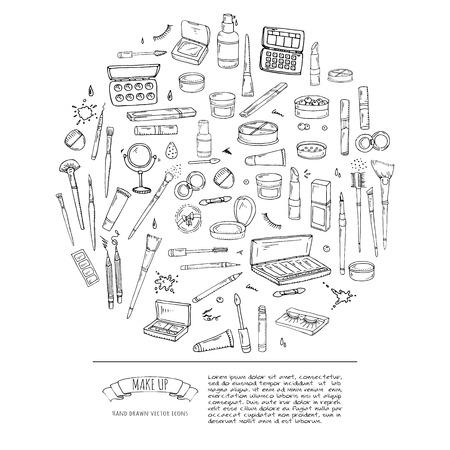 Hand drawn doodle Make up icons set. Vector illustration. Beauty symbols collection. Cartoon face care concept element: powder, mascara, pencil, eye liner, foundation, cream, lipstick, blush, cosmetic Illustration