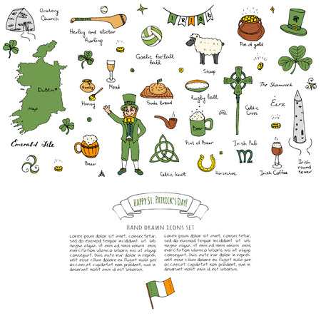 Hand drawn doodle Happy St. Patricks Day set. Ireland icons. Vector illustration Sketchy Irish traditional food icons elements Flag Map Celtic Cross Knot Castle Leprechaun Shamrock Harp Pot of gold
