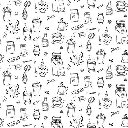 シームレスな背景手描き落書きコーヒー タイムのアイコン セットのベクトル イラスト分離されたドリンク シンボル コレクション漫画様々 な飲料  イラスト・ベクター素材