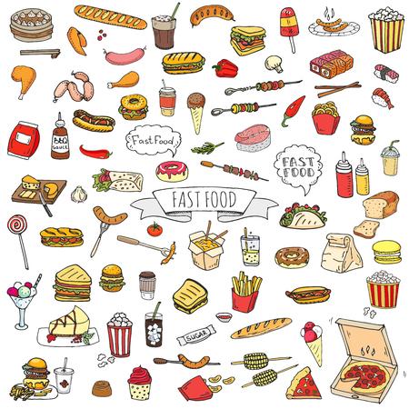 Dibujado a mano doodle Conjunto de iconos de comida rápida. Ilustración vectorial Colección de elementos de comida chatarra. Bocadillo de dibujos animados varios sketch symbol: soda, hamburguesa, patata, perrito caliente, pizza, tacos, desierto dulce, donut, palomitas de maíz Foto de archivo - 72806074