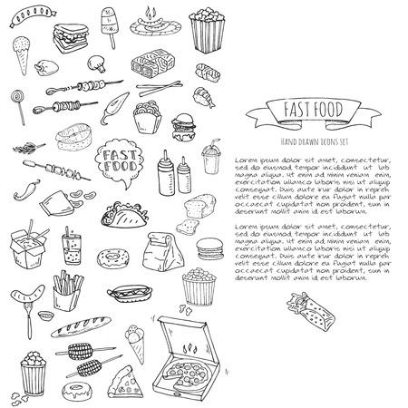 Dibujado a mano doodle Conjunto de iconos de comida rápida. Ilustración vectorial Colección de elementos de comida chatarra. Bocadillo de dibujos animados varios sketch symbol: soda, hamburguesa, patata, perrito caliente, pizza, tacos, desierto dulce, donut, palomitas de maíz