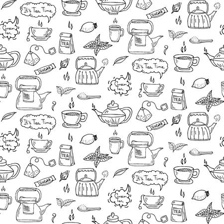 Modèle sans couture dessinés à la main doodle jeu d'icônes de temps thé. Illustration vectorielle Collection de symboles de boisson isolée. Élément de boisson de dessin animé: tasse, tasse, théière, feuille, sac, épice, menthe, fines herbes, sucre, citron. Banque d'images - 72806079