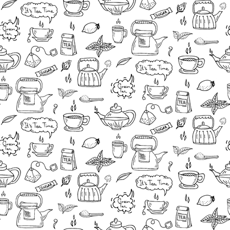 Seamless pattern Hand drawn doodle Tea time icon set. Vector illustration. Isolated drink symbols collection. Cartoon beverage element: mug, cup, teapot, leaf, bag, spice, mint, herbal, sugar, lemon. Çizim