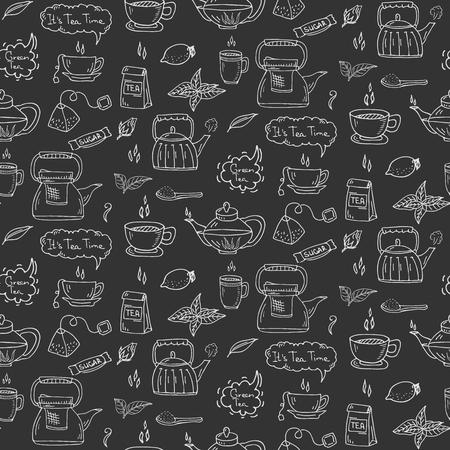 ice tea: Seamless pattern Hand drawn doodle Tea time icon set. Vector illustration. Isolated drink symbols collection. Cartoon beverage element: mug, cup, teapot, leaf, bag, spice, mint, herbal, sugar, lemon. Illustration