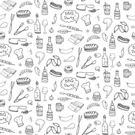 Patrón sin fisuras con dibujado a mano Doodle iconos de barbacoa conjunto. Ilustración vectorial verano barbacoa símbolos de la colección Comida de dibujos animados, bebidas, ingredientes y elementos de decoración sobre fondo blanco Boceto