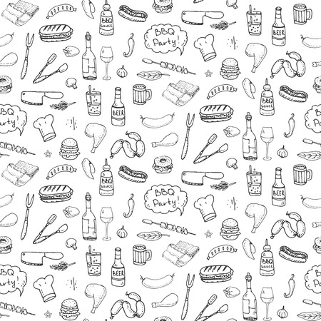 Seamless pattern with hand drawn doodle BBQ icons set. Vector illustration summer barbecue symbols collection Cartoon meals, drinks, ingredients and decoration elements on white background Sketch
