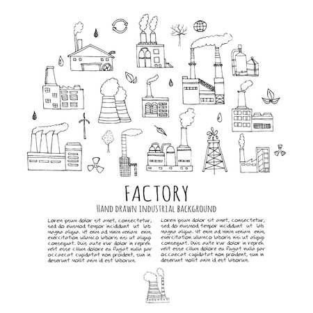 Hand drawn doodle Factory set Vector illustration Sketchy cartoon Industrial icons Factory building Manufacture architecture Eco concept Pipe with smoke Pollution Recycling Tree Plant Leaves