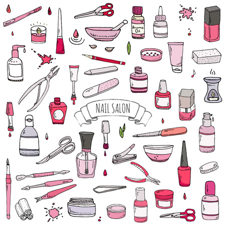 cuticle: Hand drawn doodle Nail salon icons set. Vector illustration. Manicure accessories collection. Cartoon various sketch pedicure tools elements: polish, bottle, brush, varnish, scissors, lotion, cream