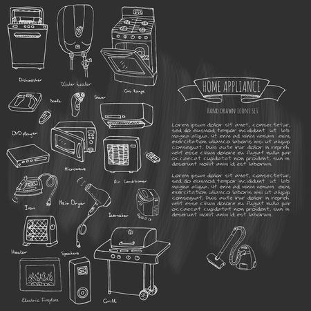 Hand getrokken doodle huistoestel vectorillustratie Cartoon pictogrammen instellen Diverse huishoudelijke apparatuur en faciliteiten Grote en kleine apparaten Consumentenelektronica Keukengerei Freehand vector schetsen