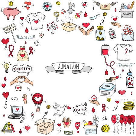 Hand getrokken doodle Donatie pictogrammen instellen. Vector illustratie. Charity symbols collection Cartoon donate sketch elements: bloeddonatie, box, heart, money jar, care, help, gift, giving hand, fondsenwerving Stock Illustratie