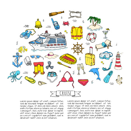 Hand drawn doodle Cruise vacation icons set Vector illustration summer adventure emblem collection Cartoon cruise liner concept elements Sea symbols Marine concept with Cruise Ship Summertime Elements Illustration