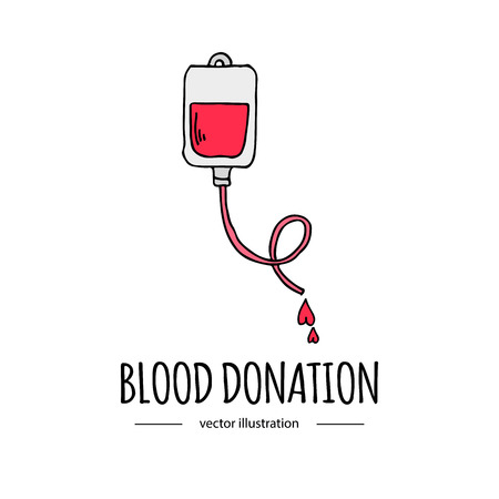 donating: Hand drawn cartoon style doodle Blood donation bag with tube icon. Donation symbol icon with hearts. Doodle vector illustration. Charity donate sketch logo element: heart, love, care, help, aid Illustration