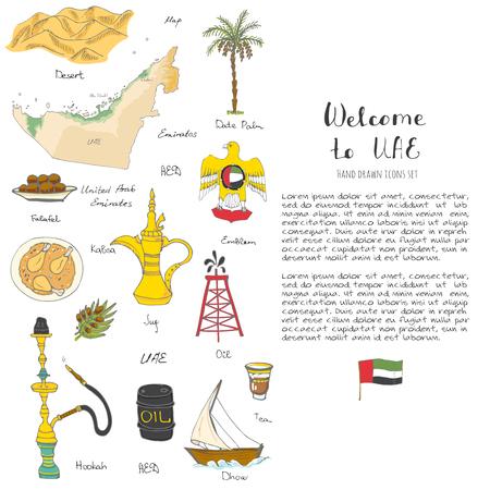Doodle dibujado a mano iconos de los Emiratos Árabes Unidos conjunto de iconos vectoriales iconos de alimentos Emirati incompletos Emiratos Árabes Unidos elementos Bandera Dubai Abu Dhabi Burj Al Árabe Burj Khalifa Petróleo Abaya Hijab Kandura Iconos de viajes musulmanes Ilustración de vector