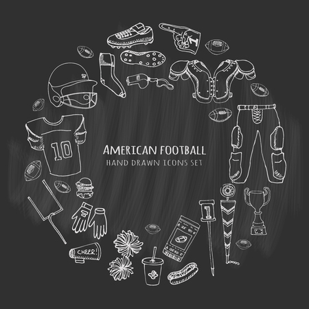 nfl helmet: Hand drawn doodle american football set Vector illustration Sketchy sport related icons football elements, ball helmet jersey pants knee thigh shoulder pads cleats field cheerleading down indicator