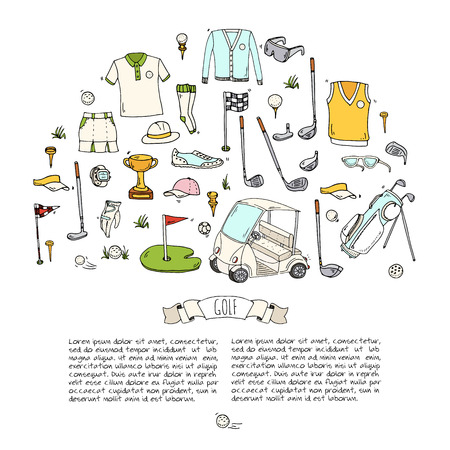 Hand getrokken doodle Golf iconen set. Vector illustratie. Game collectie. Cartoon golfen verschillende schets elementen: clubs, t-shirt, tas, kar, sport doek, schoenen, polo shirt, paraplu, vlag, gat, gras.
