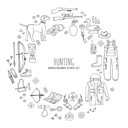 Hand drawn doodle hunting set. Vector illustration. Sketchy hunt related icons, hunting elements, dog, gun, crossbow,camping wear cloths, boots, plastic sitting duck, binoculars, compass