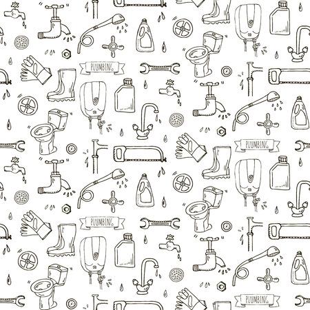 Seamless pattern Hand drawn doodle Plumbing icons set. Ilustração