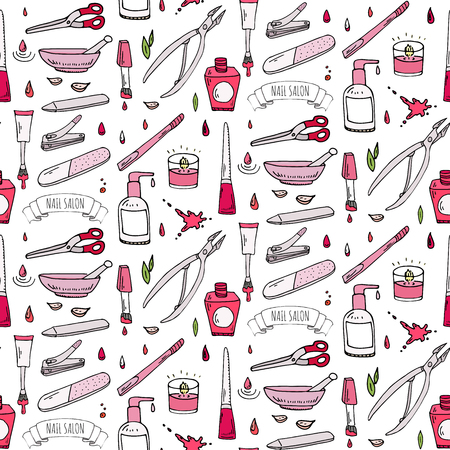 Seamless pattern with hand drawn doodle Nail salon icons set.