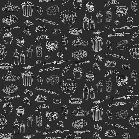 Naadloze patroon Hand getekende doodle Fast food icons set.