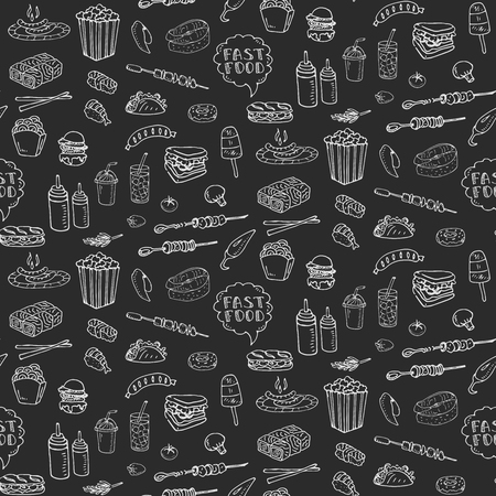 isolate: Seamless pattern Hand drawn doodle Fast food icons set.