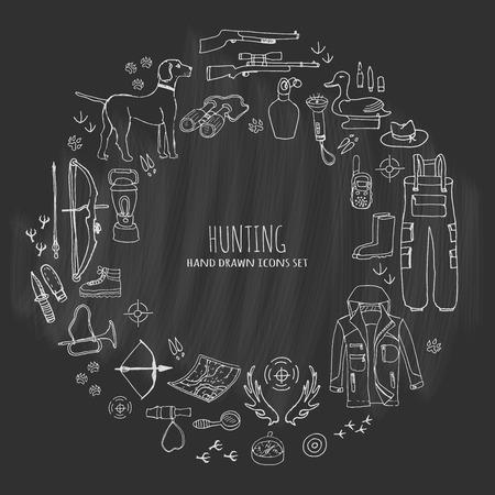 Ensemble de chasse à doodle tiré à la main. Illustration vectorielle. Des icônes liées à la chasse, des éléments de chasse, des chiens, des armes à feu, des arbalètes, des vêtements de camping, des bottes, des canards assis en plastique, des jumelles, des boussole Banque d'images - 74354652