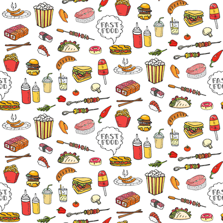 Seamless pattern Hand drawn doodle Fast food icons set.
