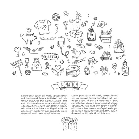 generosity: Hand drawn doodle Donation icons set. Vector illustration. Charity symbols collection Cartoon donate sketch elements: blood donation, box, heart, money jar, care, help, gift, giving hand, fund raising