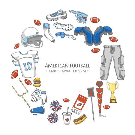 pantalones abajo: Mano doodle fútbol americano conjunto Ilustración vectorial elementos de iconos relacionados con el deporte de fútbol incompletos, casco bola pantalones, jersey de la rodilla de campo tacos hombreras muslo porristas abajo indicador
