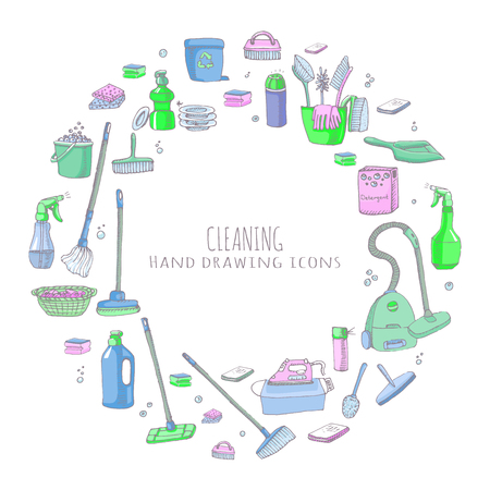 Hand drawn doodle Cleaning service icons set Vector illustration Cleaning symbols, tools, Detergent, iron, mop, dust pan, brushes bleach, duster, washing liquid, vacuum cleaner, doodle icons, sketch Illustration