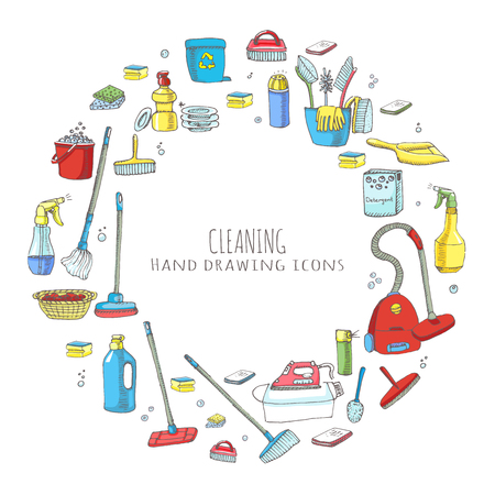 Hand drawn doodle Cleaning service icons set Vector illustration Cleaning symbols, tools, Detergent, iron, mop, dust pan, brushes bleach, duster, washing liquid, vacuum cleaner, doodle icons, sketch Vettoriali