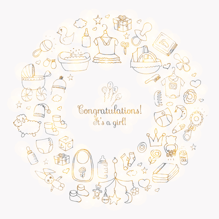 Set of hand drawn cute baby shower icons. Kids care elements. Vector illustration. its a baby girl design symbols. Children clothing, toy, bib, nappy, carriage, socks, bottle, foot print, dress, bath Illustration