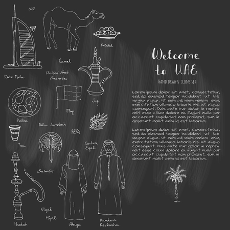 Hand drawn doodle UAE set Vector illustration Sketchy Emirati food icons United Arab Emirates elements, Flag Dubai Abu Dhabi Burj Al Arab Burj Khalifa Camel Oil Abaya Hijab Kandura Muslim Travel icons