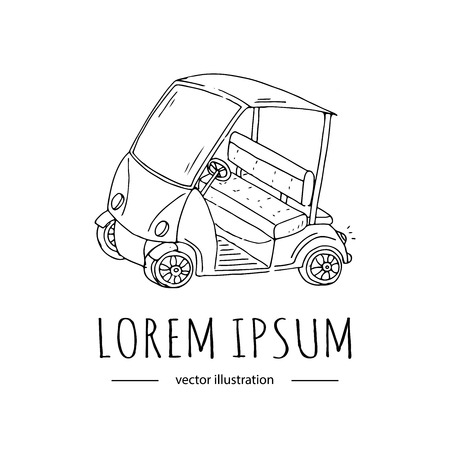 hand drawn icon of golf cart isolated on white background sport