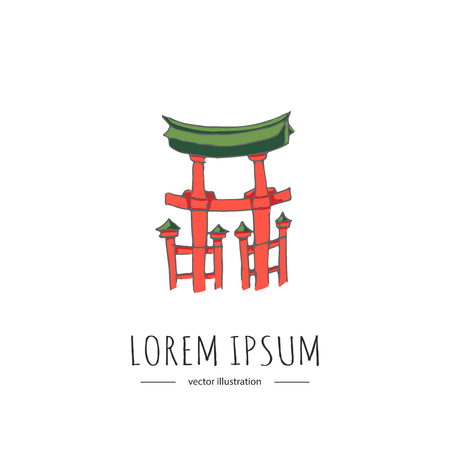 Doodle Japan related icon. Vector illustration. Sketch style architecture element. Miyajima, The famous Floating Torii gate, Japanese colorful red symbol on white background
