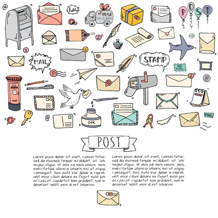 post: Doodle Postal elements icon set. Vector illustration. Isolated post symbols collection. Cartoon various mail element: letter, envelope, stamp, post box, package, delivery truck, pigeon. Illustration