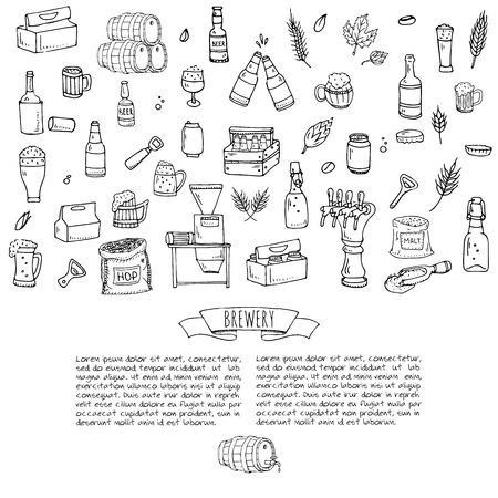 freehand tradition: Doodle set of Brewery icons. Vector illustration set. Cartoon Craft Beer production symbols. Sketchy brewing elements collection: pub equipment, malt, hop, glass, barrel, mill, beer tap.