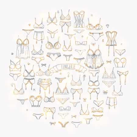 Hand drawn doodle Lingerie icon set. Fashion feminine vector illustration. Sexy lacy woman underwear symbol collection. Cartoon various sketch elements: bra, panties, corset, brassiere, string, bikini Illustration