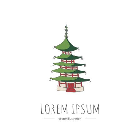 手描き落書き日本関連アイコン。ベクトルの図。スケッチ スタイルの仏塔。日本的要素: 寺院、古代の建物、建築、仏教の宗教的なシンボル、カラ